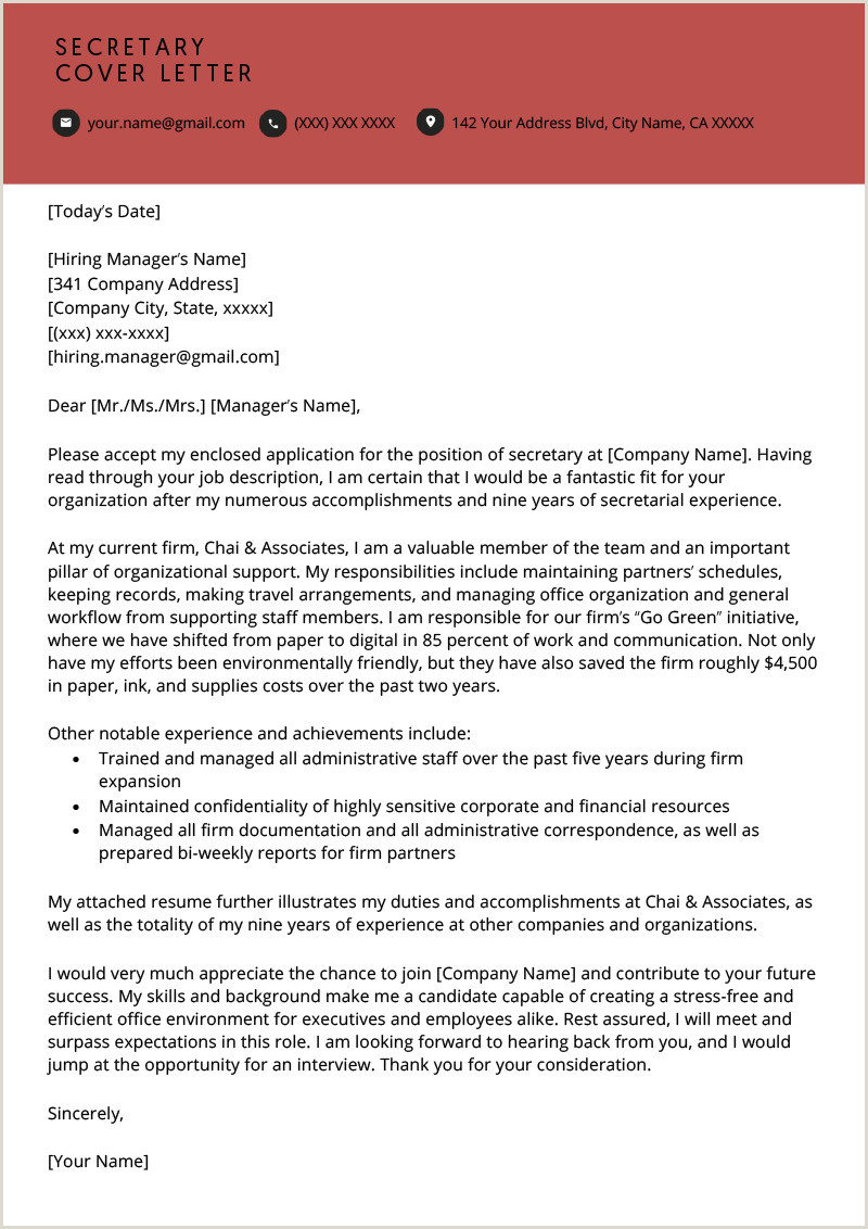 Hotel Manager Cover Letter Secretary Cover Letter Example