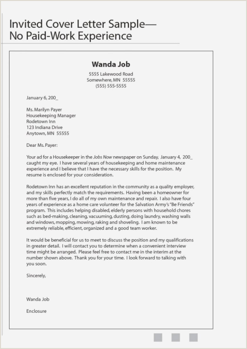 Housekeeping Cover Letter With No Experience