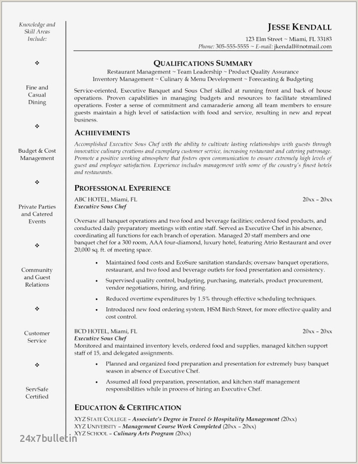 How To Put Restaurant Experience On A Resume 10 Culinary Resume