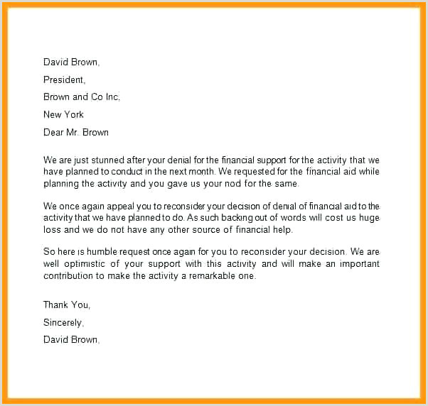Appeal Letter For Financial Aid Appealing Sample Template