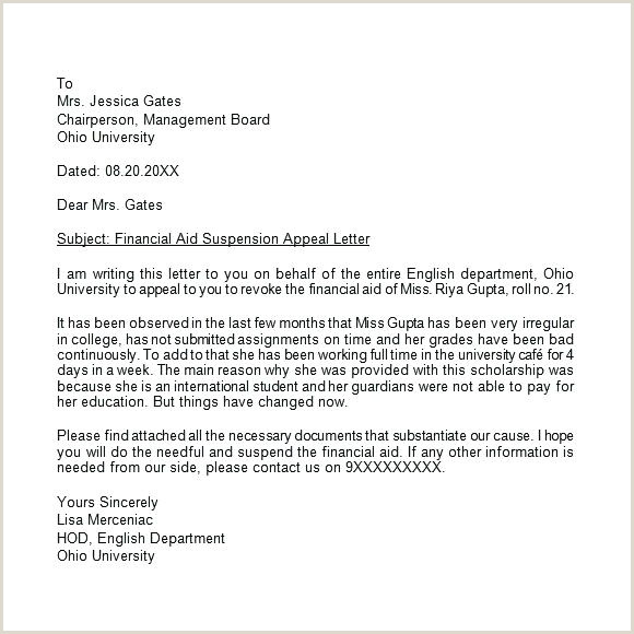Disability Appeal Letter Template ficial Sample College