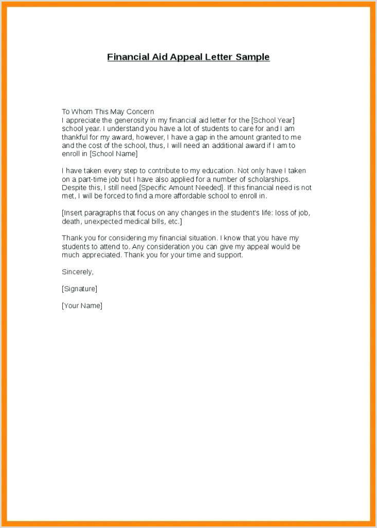 Reinstatement Letter Template Financial Aid Appeal For
