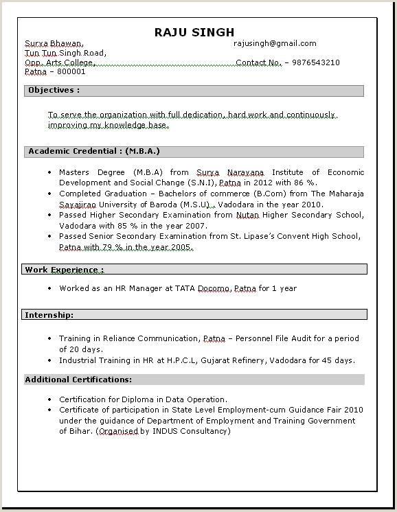 Hr Fresher Resume Format Doc 76 Elegant Graphy Resume Samples For Mba Hr Freshers
