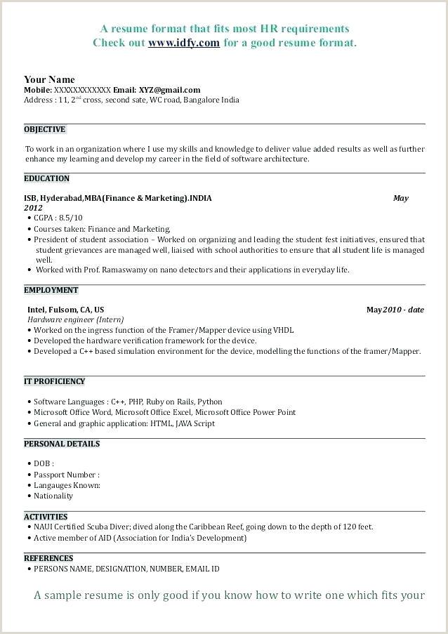 Hr Fresher Resume Format Doc Sample Resume Templates New Application Resume Sample Sample