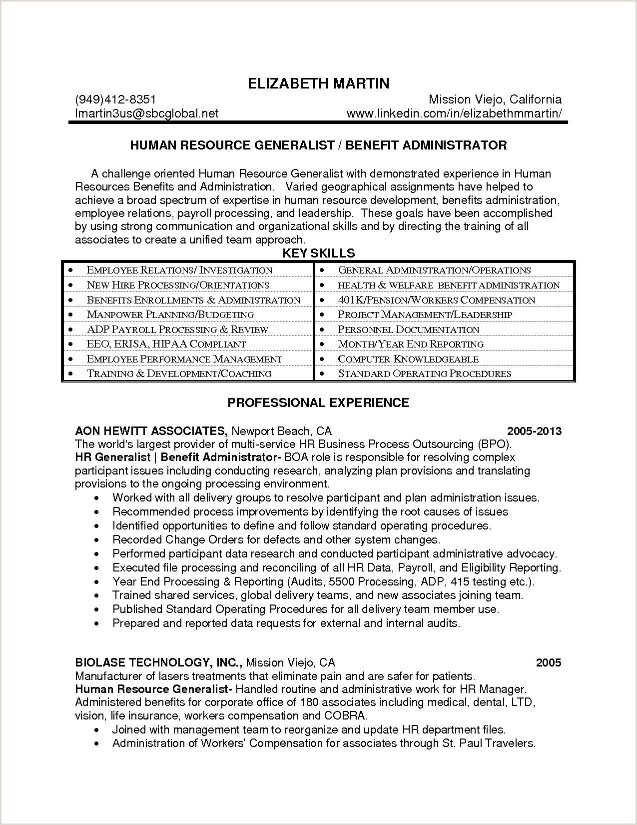 Hr Manager Resume Sample Fresh Benefits Administrator Resume