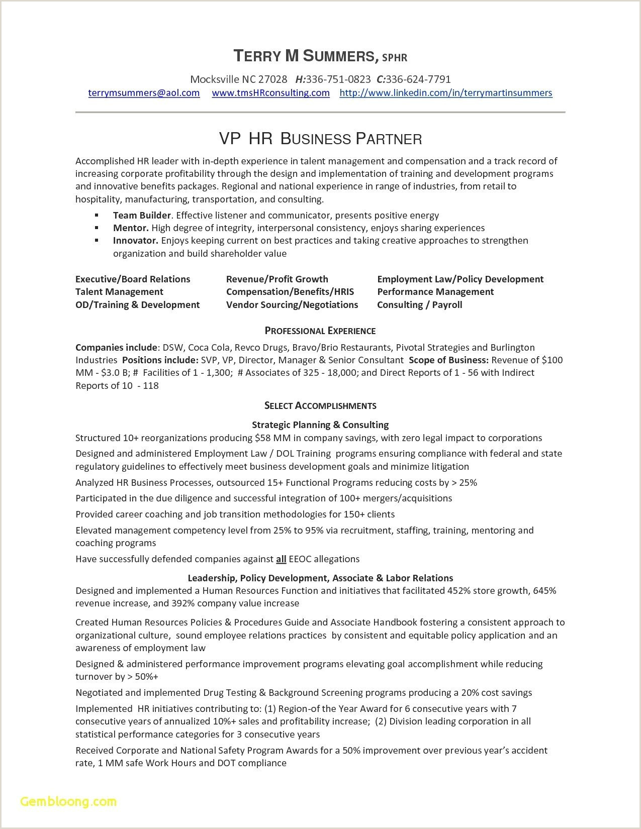 Human Resource Manager Resume Example Human Resource Generalist Resume Sample Inspirational 25 New