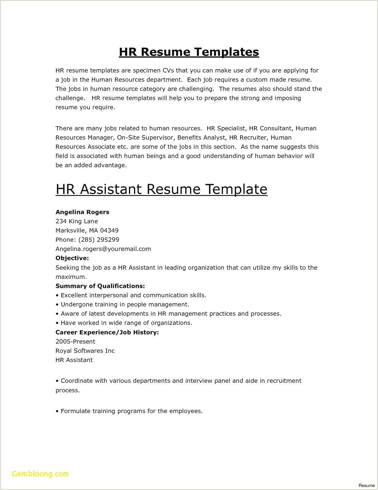 Human Resources Resume Examples