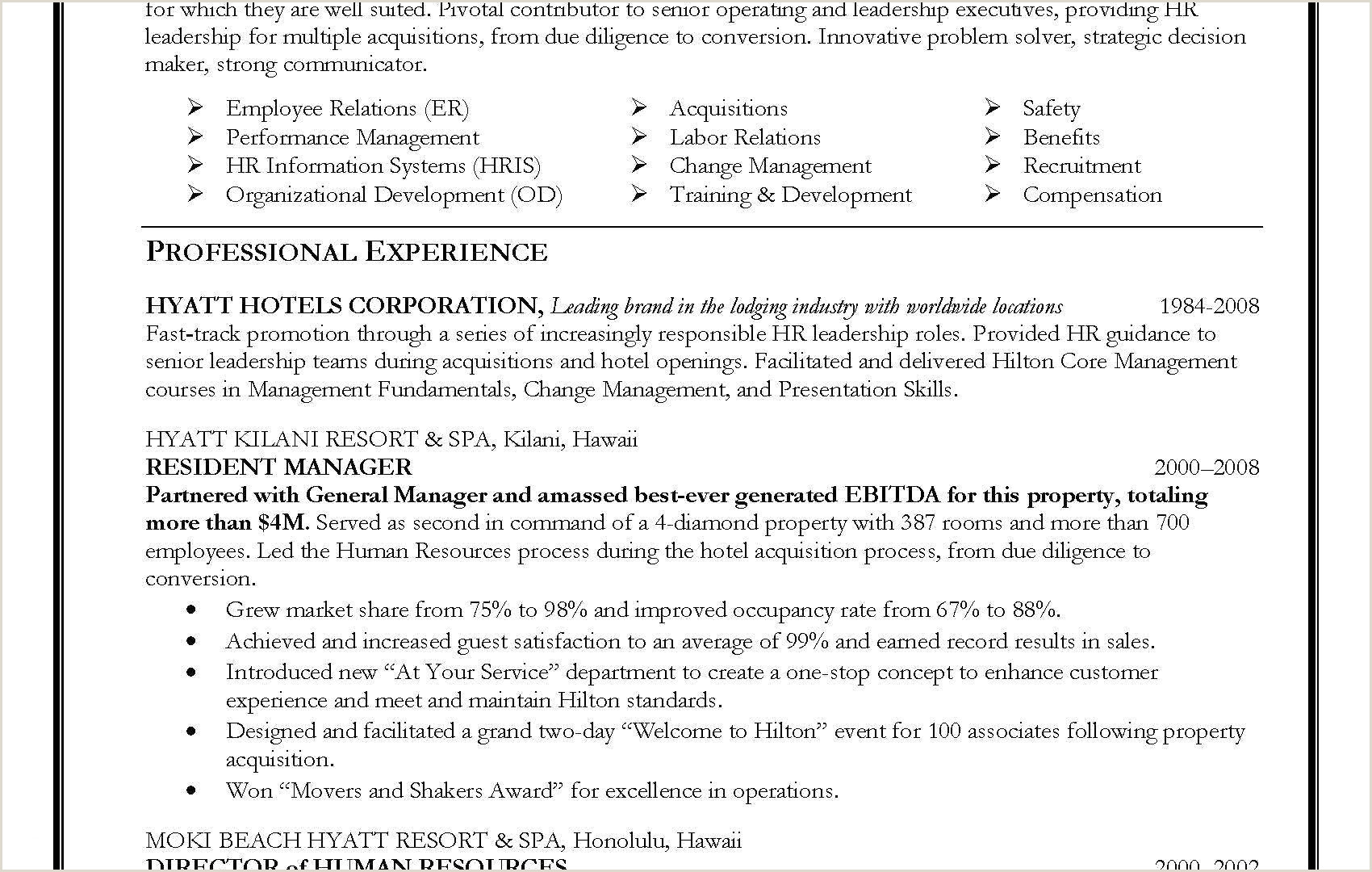 Human Resources Manager Resume Samples Best Human
