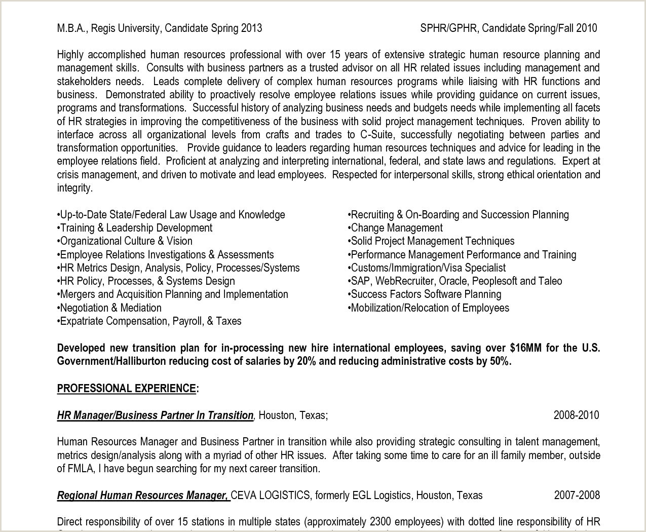 Human Resources Manager Resume Sample 30 Examples Human Resource Management Resume Picture