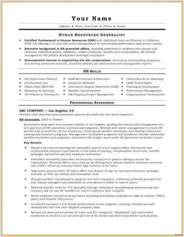 Sample Human Resource Generalist Resume Free Human Resources