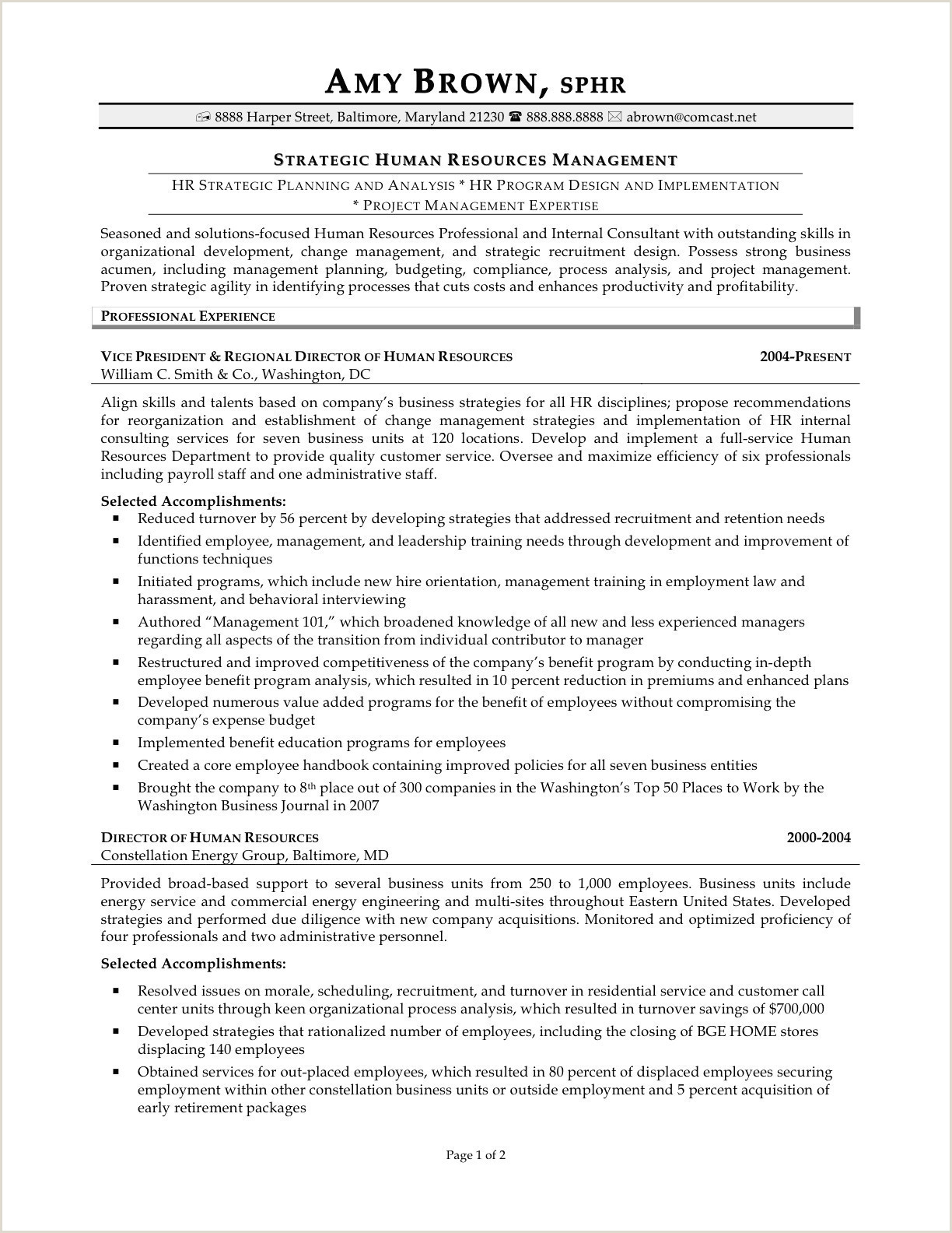Vice President Human Resources Resume Sample