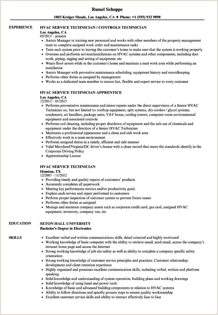 Hvac Tech Resume