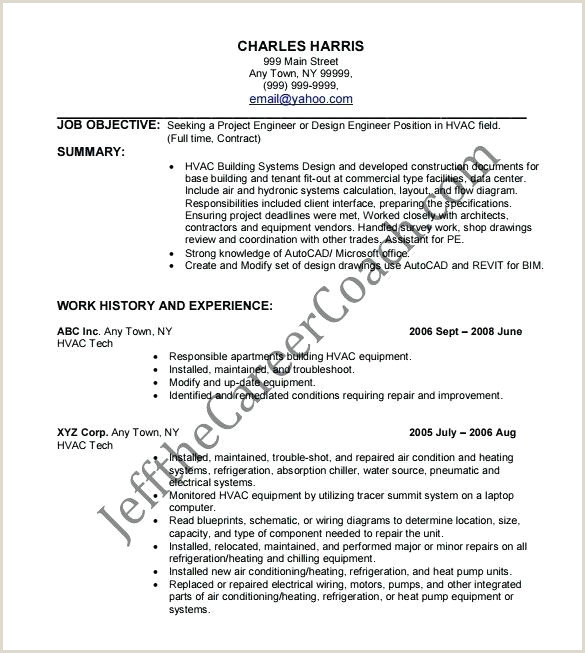 Hvac Service Technician Resume Luxury Entry Level Hvac Technician Resume and Resumes
