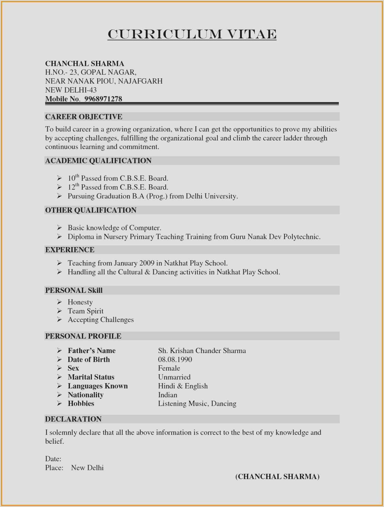 Ideas Para Rellenar Un Curriculum Vitae Curriculum Vitae Sample Best Interest Section Resume