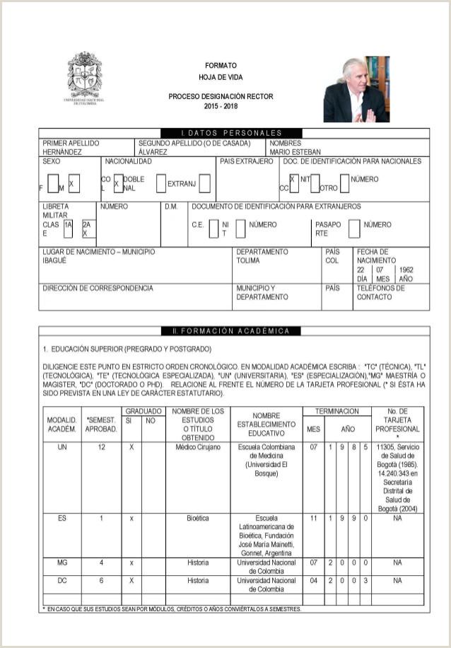 Imprimir formato Hoja De Vida Minerva 1003 Hoja De Vida Mario Hernandez