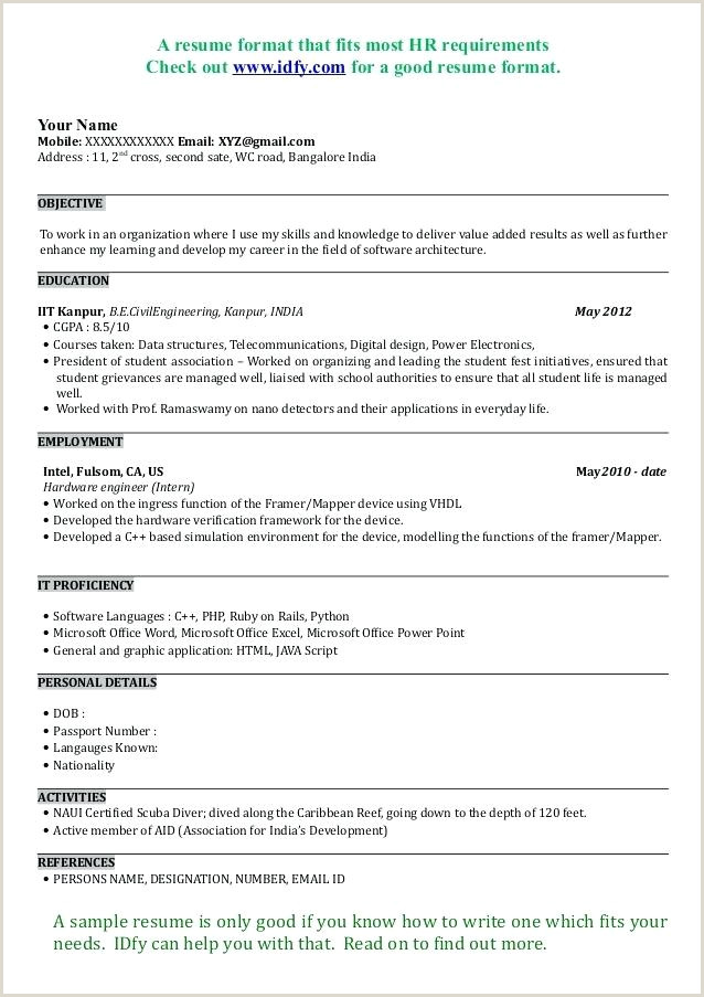 Indian Fresher Resume Format Download In Ms Word Fresher Resume Sample – Growthnotes