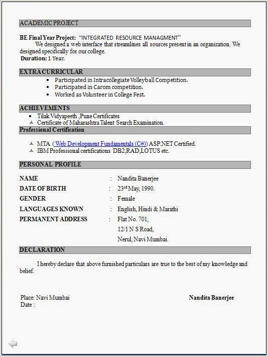 Indian Fresher Resume format Download In Ms Word Sample Resumes for Freshers Engineers Sinma