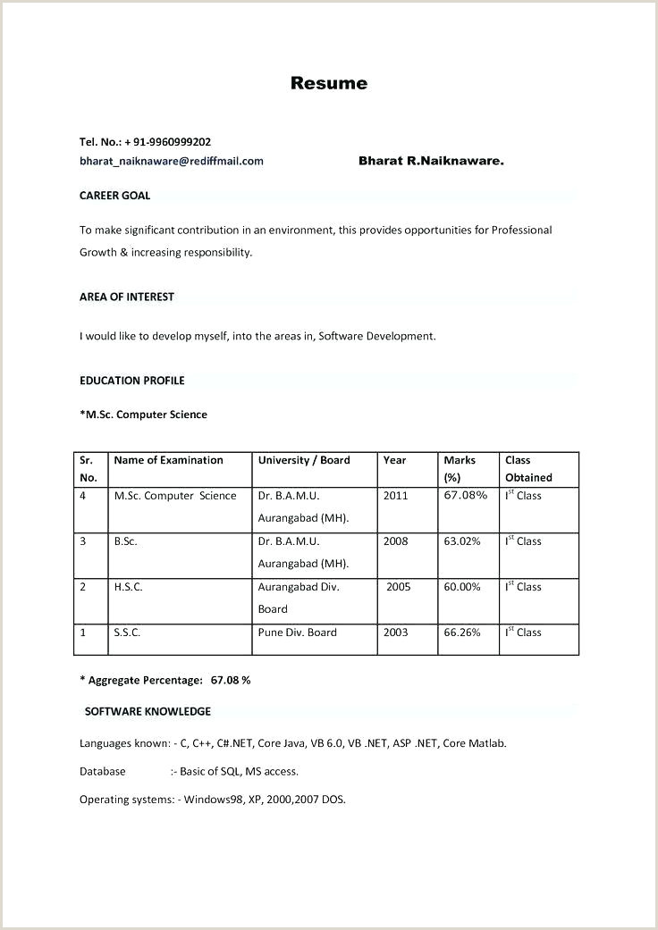 Indian Fresher Resume format Download In Ms Word Simple Resume format Pdf – Thrifdecorblog