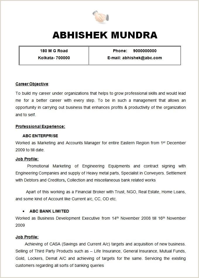 Indian Resume format for Job Pdf 10 Indian Teacher Resume format