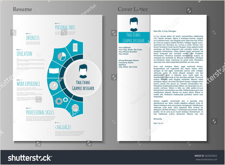 Image vectorielle de stock de Resume Cover Letter Flat Style
