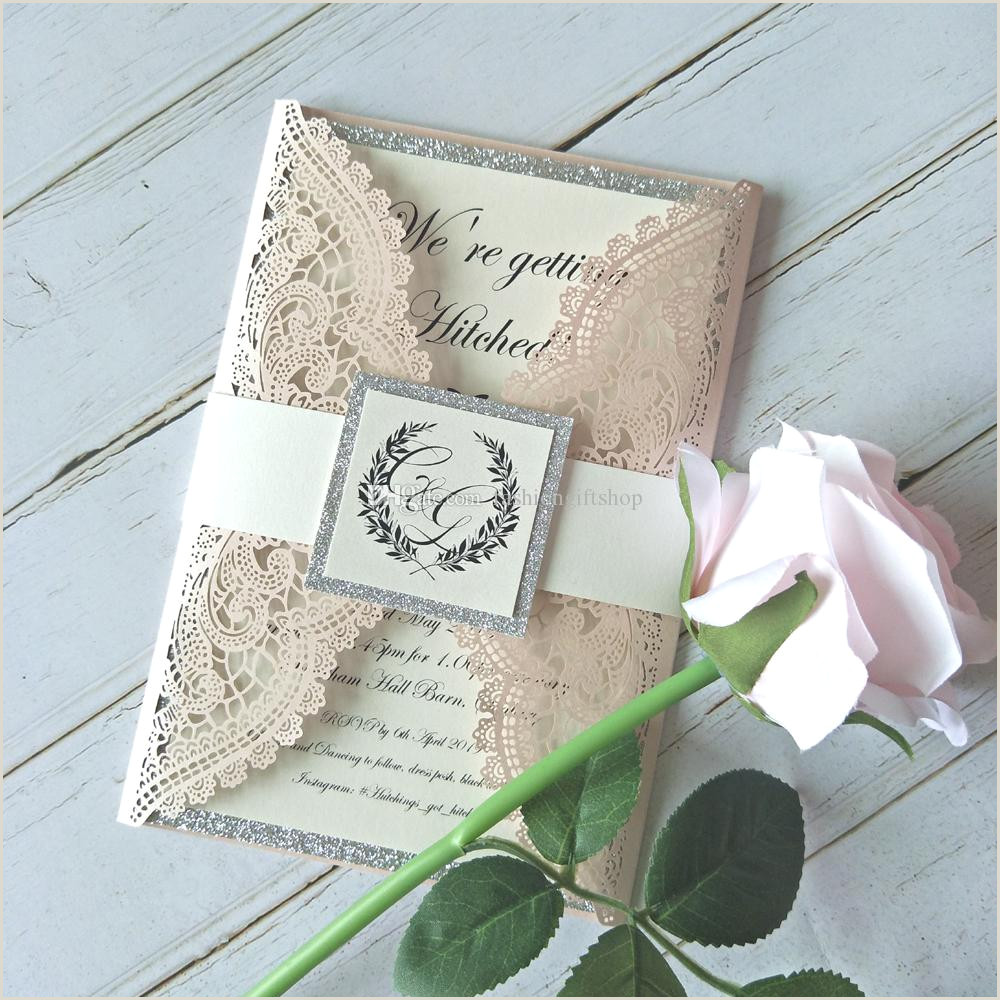 20 Color Elegant Laser Cut Wedding Invitation Light Pink Lace Invitations Cover for Quinceanera Dinner DIY Customized Invites