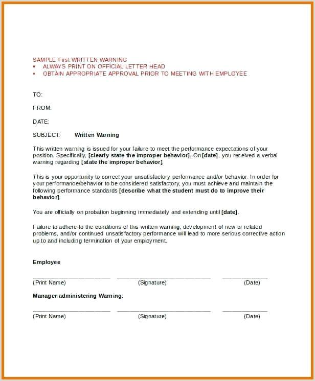 Warning Letter Template First Written Warning Letter