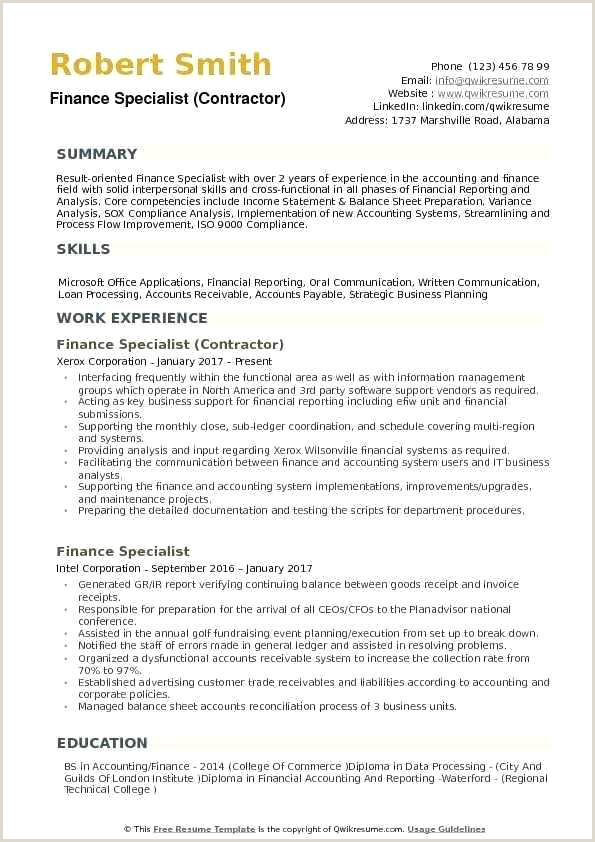 Finance Specialist Resume Samples Manager Cv Template Doc