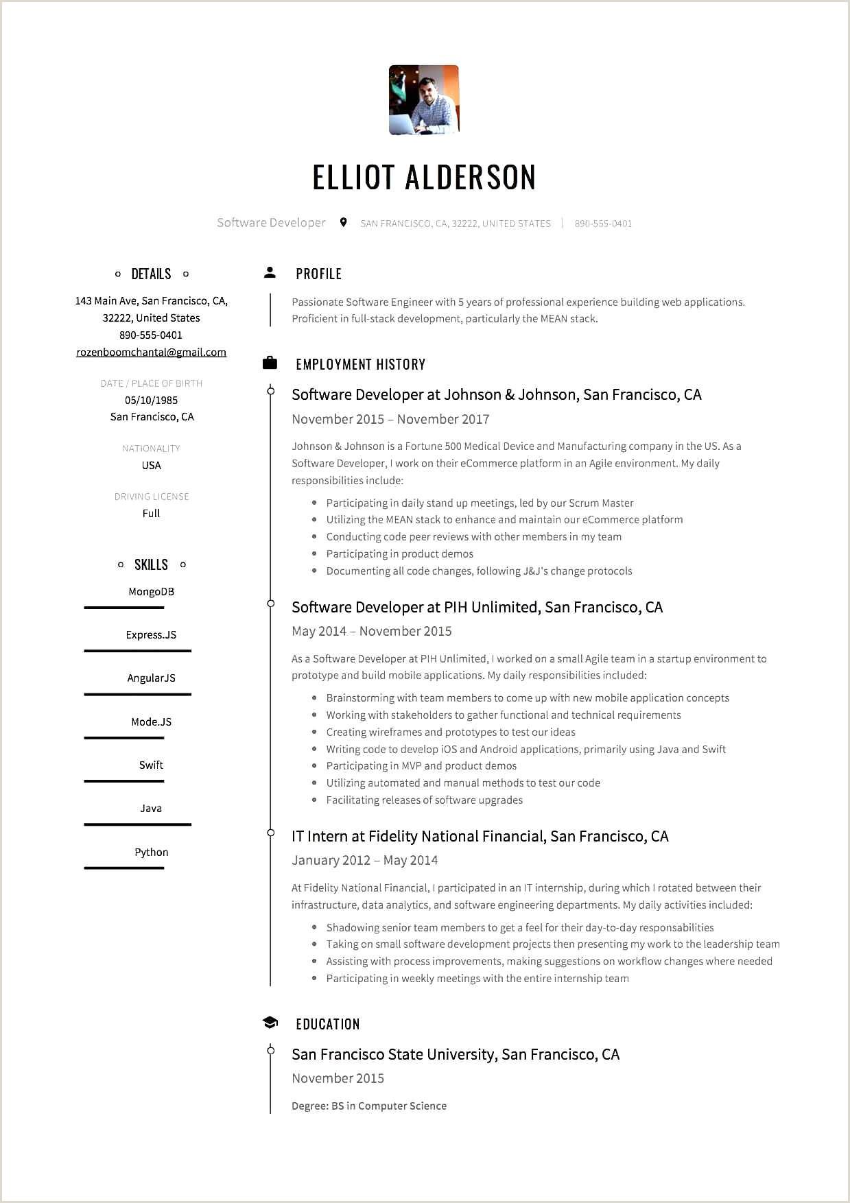 Elliot Alderson Software Developer Resume Sample1 – Mary