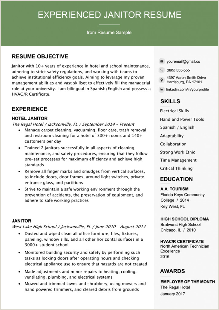 Janitor Job Description Resume Templates Duties For School