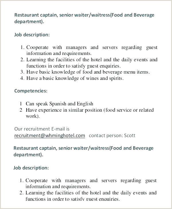 Head Waiter Jobs Waitress Job Description Resume In Example