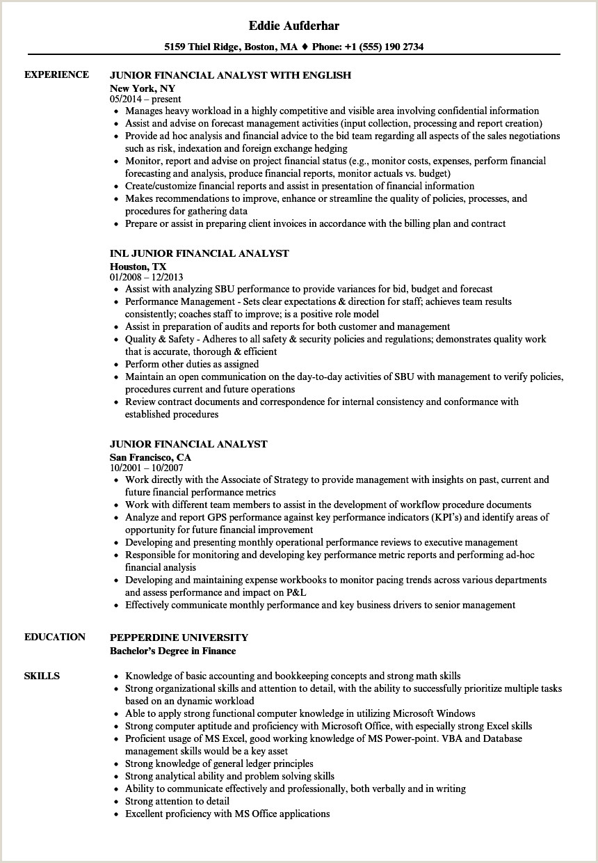 Junior Financial Analyst Resume Junior Financial Analyst Resume Samples