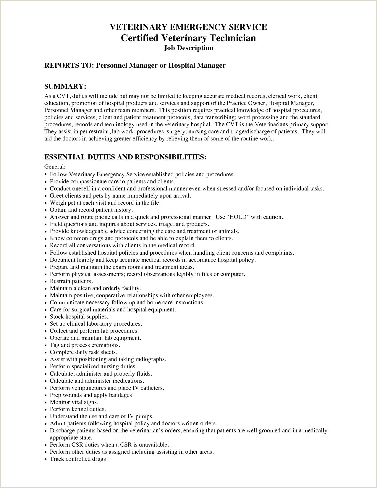 Kennel attendant Resume Resume for Veterinary assistant Drosophila Speciation