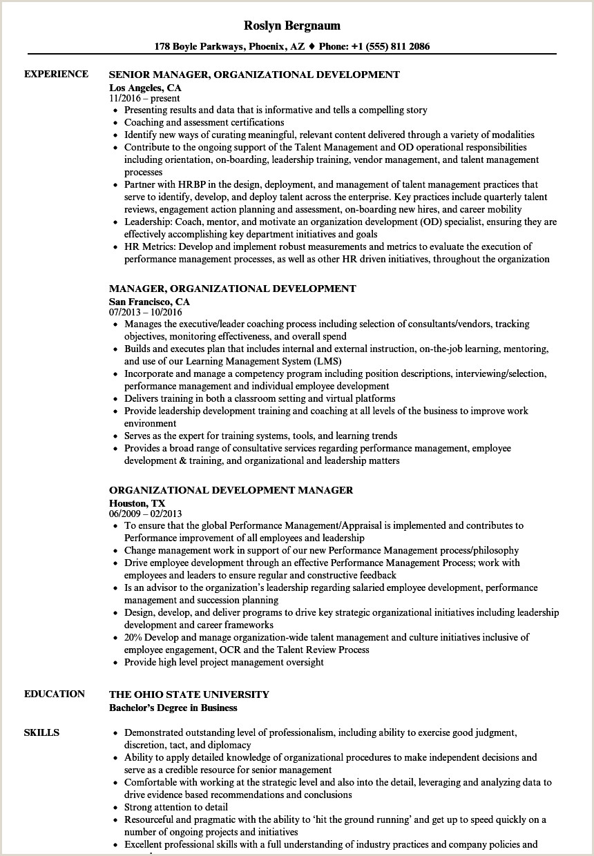 Key Components Of A Resume organizational Development Resume Samples