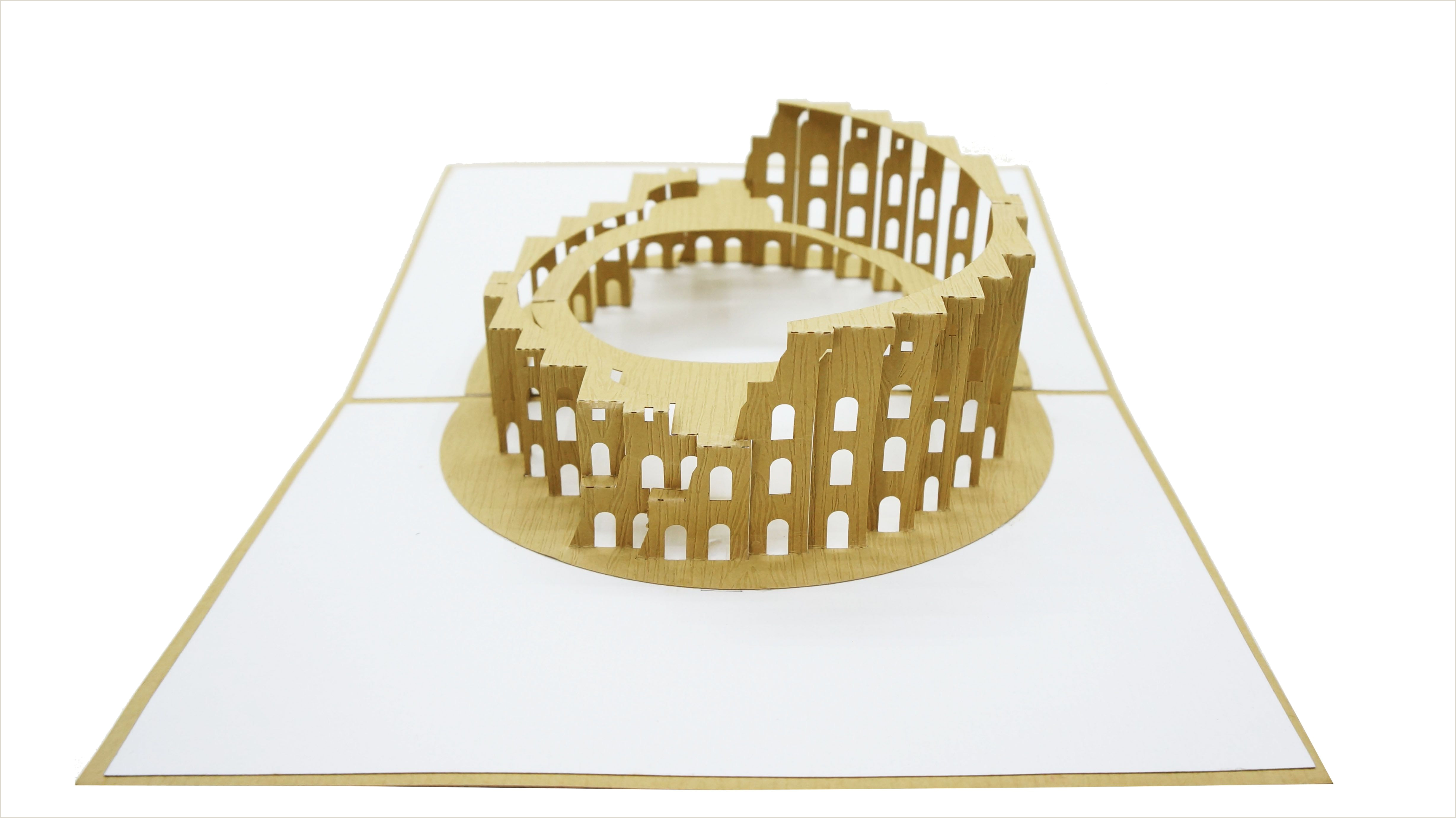 Kirigami Pop Up Cards Free Patterns Colosseum 3d Pop Up Card Architecture