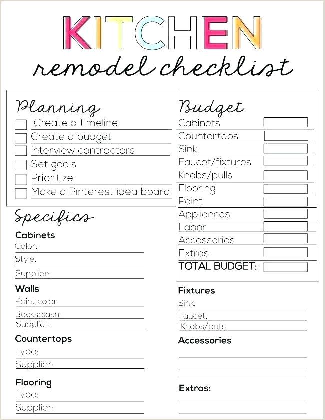 Kitchen Remodel Checklist Excel Bathroom Remodel Checklist Template – Cockos