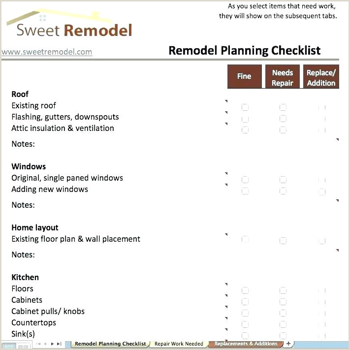Kitchen Remodel Checklist Excel Home Renovation Planner Kitchen Remodel Bud Planner Home