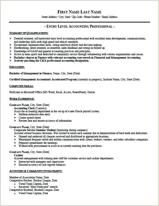 Entry Level Accountant Resume Template Entry Level