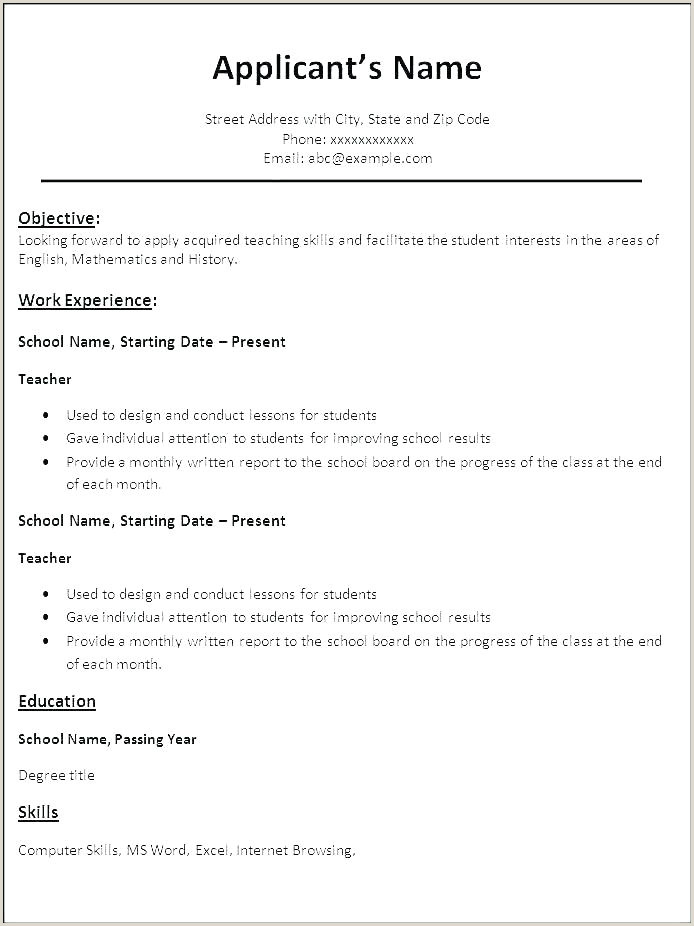Latest Cv format Doc 2018 Cv Templates for Students Free Download Doc Resume