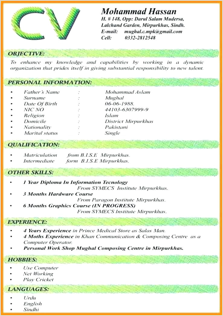ficial Resume Format Download Cv Template Pdf Examples