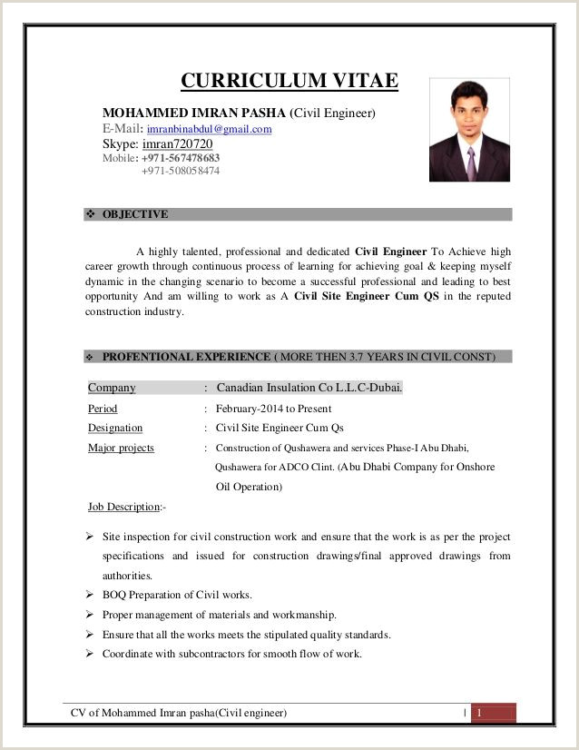 Latest Cv format for Bank Job Cv Of Mohammed Imran Pasha Civil Engineer