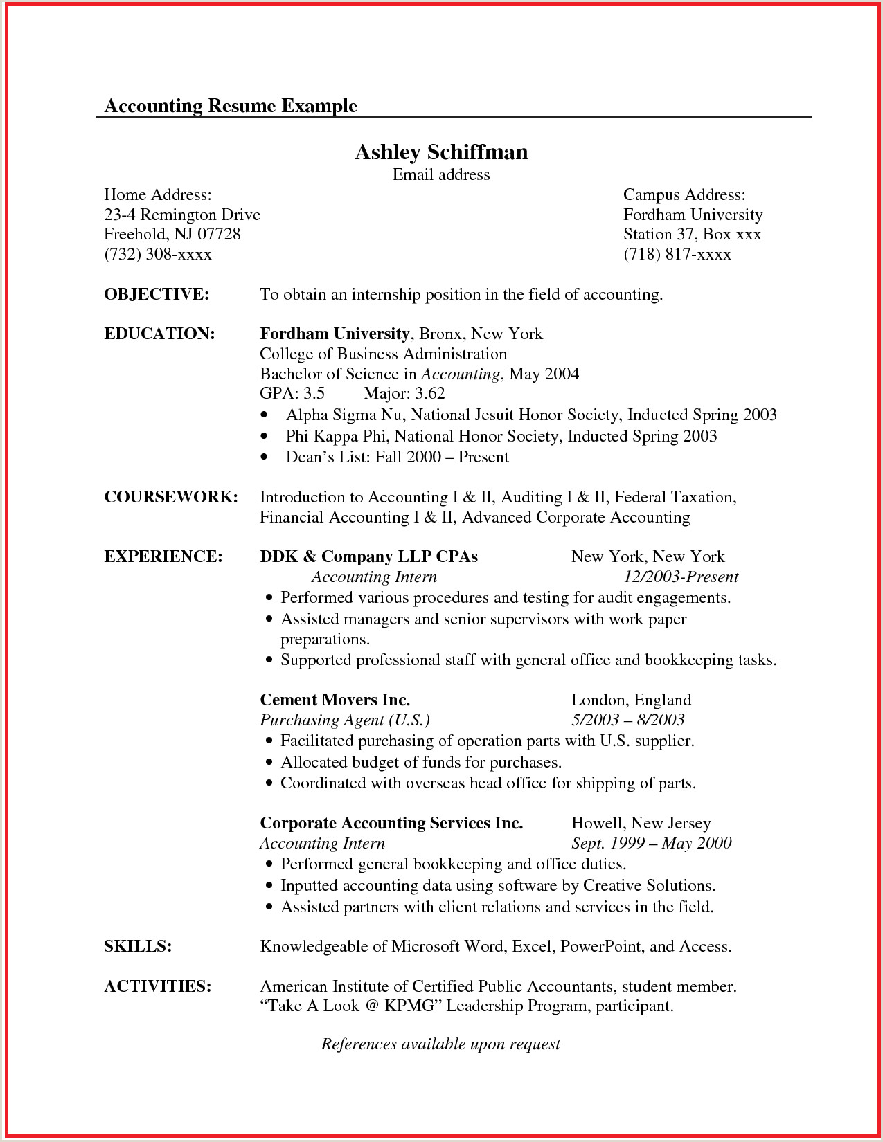 Latest Cv format for Experienced Accountant Pin by Golda On Letters