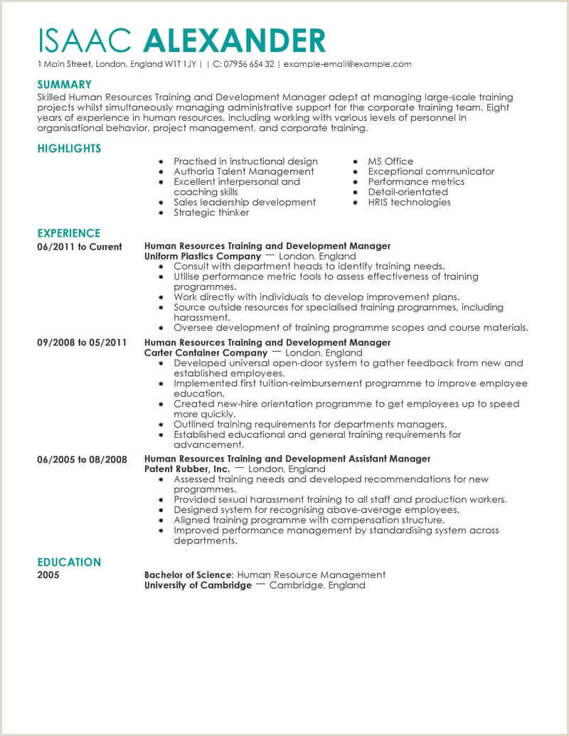 Latest Cv format for Freshers Amazing Human Resources Resume Examples