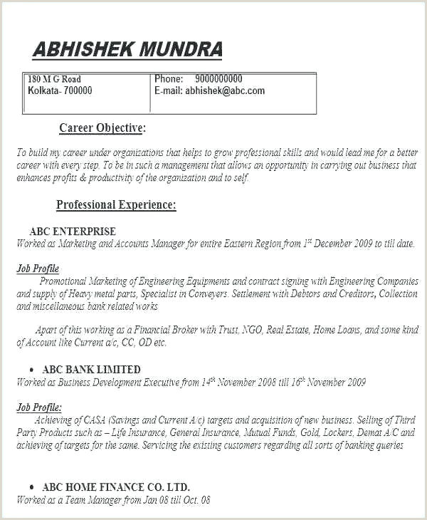 Latest Cv format for Freshers Resume Styles – Emelcotest