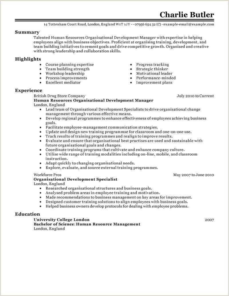 Latest Cv format for Hr Executive Best organizational Development Resume Example