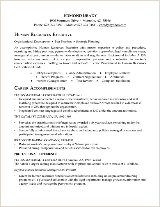 HR Executive Resume Example