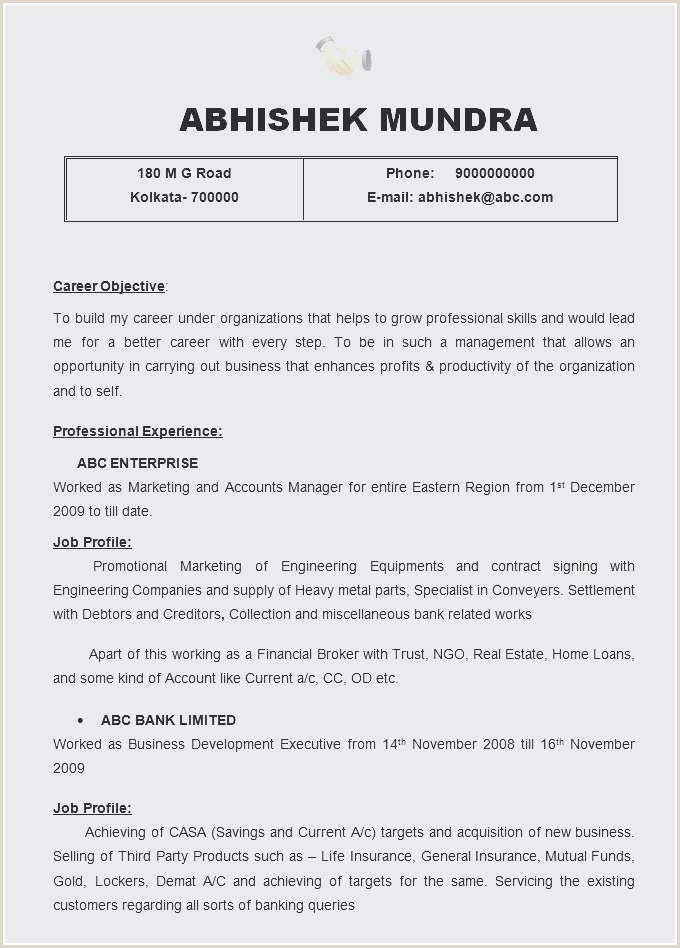 Fresh Objective In A Resume for Fresher