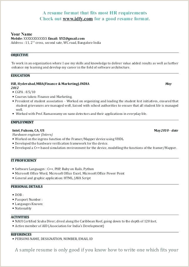Latest Cv format for Hr Freshers Simple Resume format for Mba Freshers