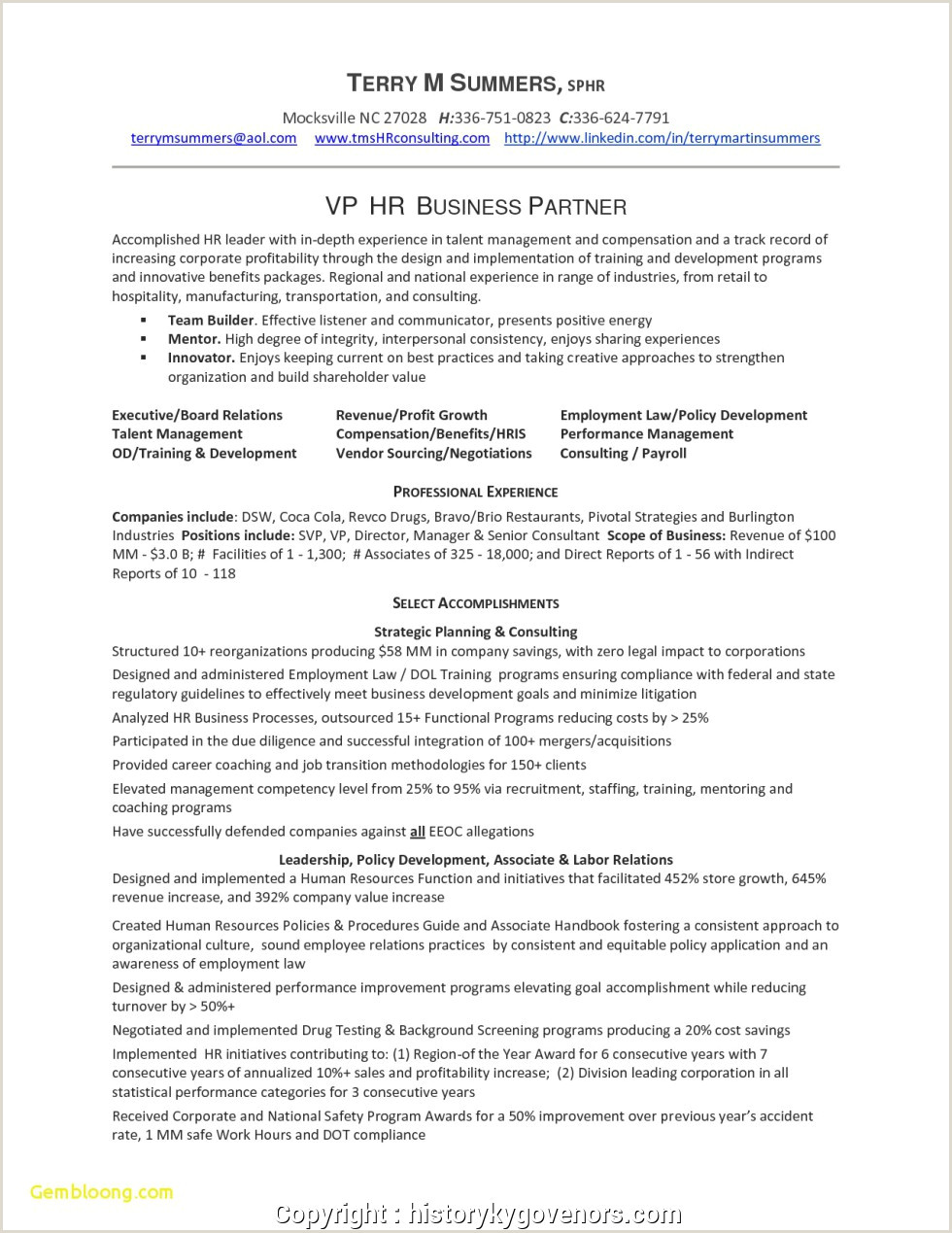 Latest Cv format for Hr Human Resources Business Partner Resume Examples Awesome