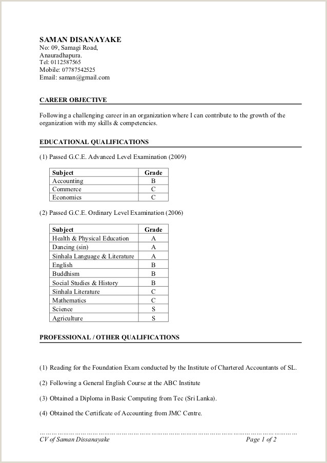 Latest Cv format for Job Application In Sri Lanka Writing the Essay English 101 Prof Packer Harold L