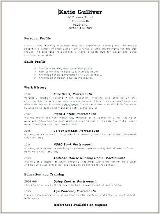 Template Minimalist Resume Web Page Job Vector Image Work